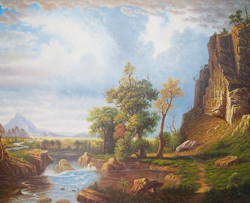 Река у скалы