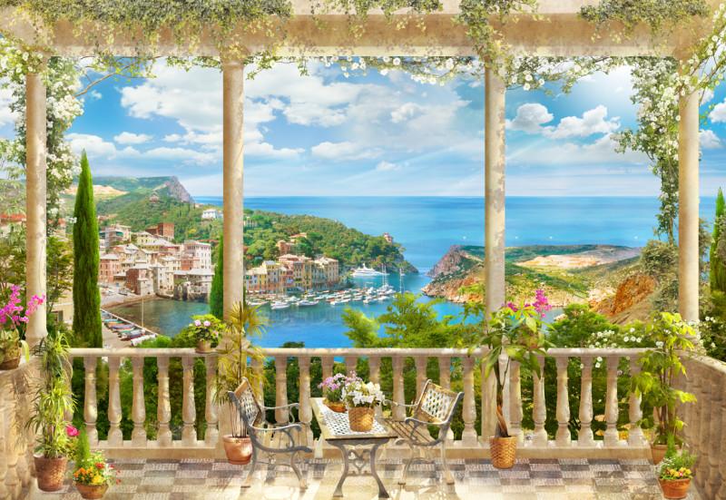 Фреска вид с балкона на причал