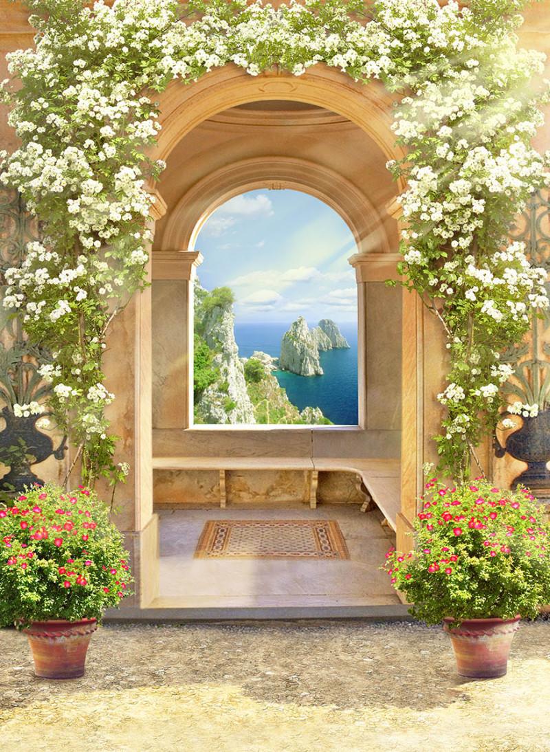 Фреска арка с цветущими цветами