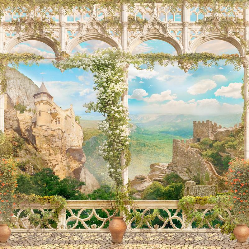 Фреска замок на горе