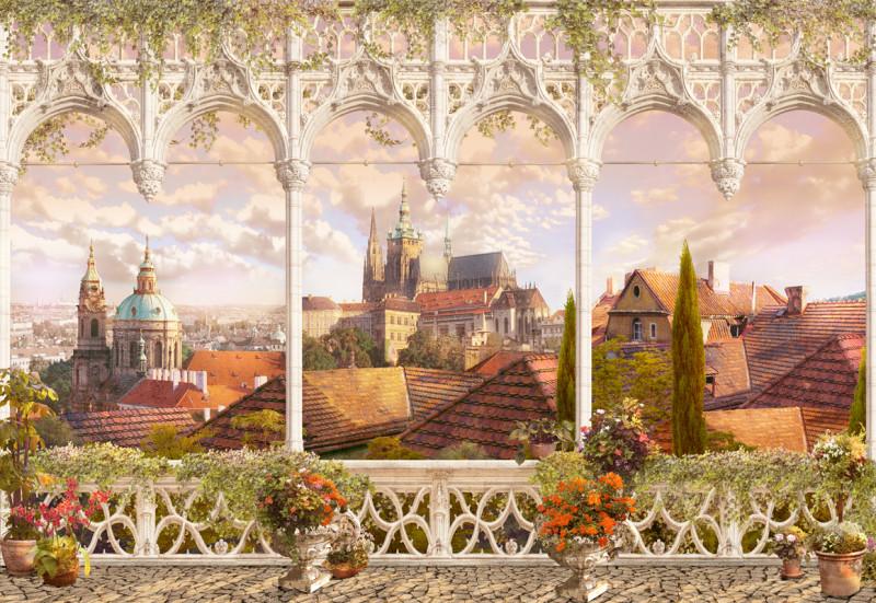 Фреска и фотообои вид на Прагу