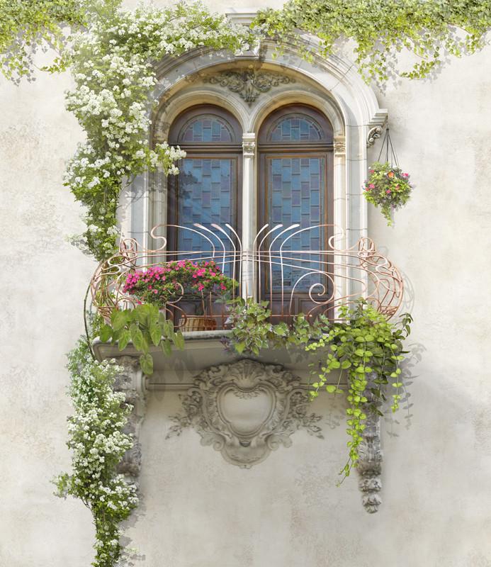 Фреска окно с цветами