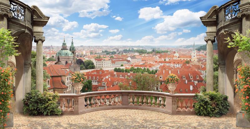 Вид с балкона на Прагу