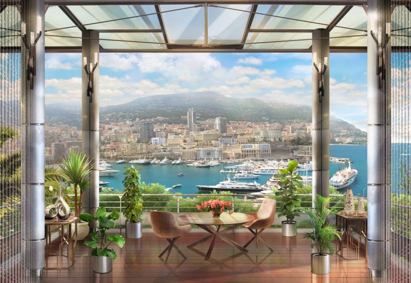 Фреска вид с балкона на море и город