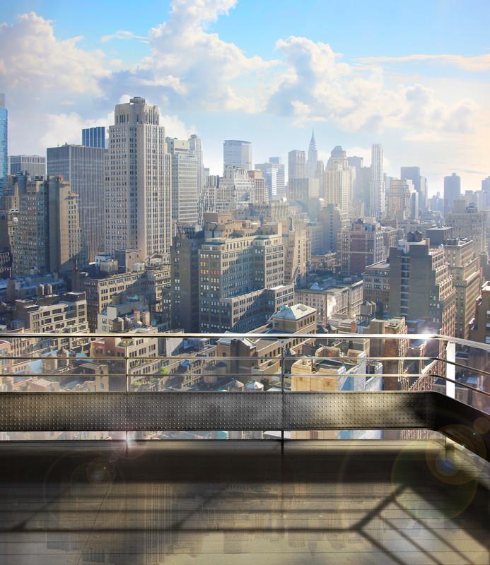 Фреска вид с крыши на современный город