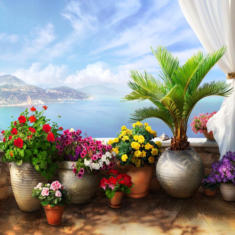 Фреска яркие цветы