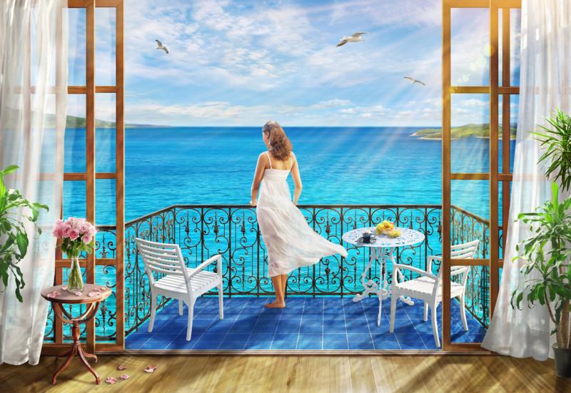 Фреска и фотообои девушка у моря