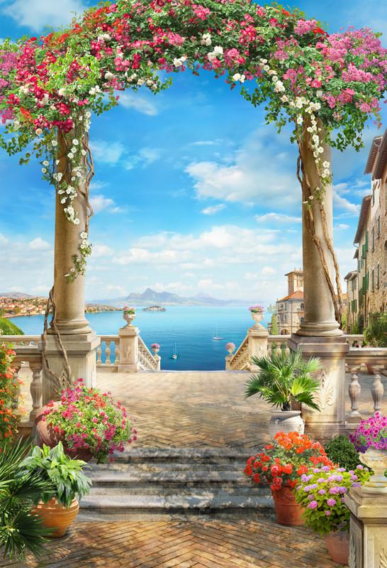 Фреска цветочная арка