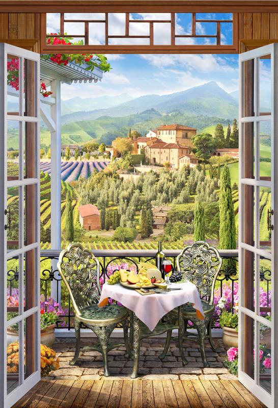 Фреска пейзаж с виноградником
