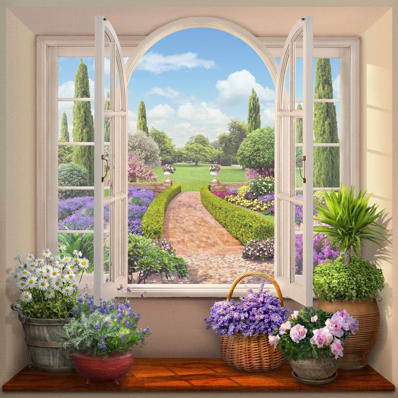 Фреска вид на цветущий сад