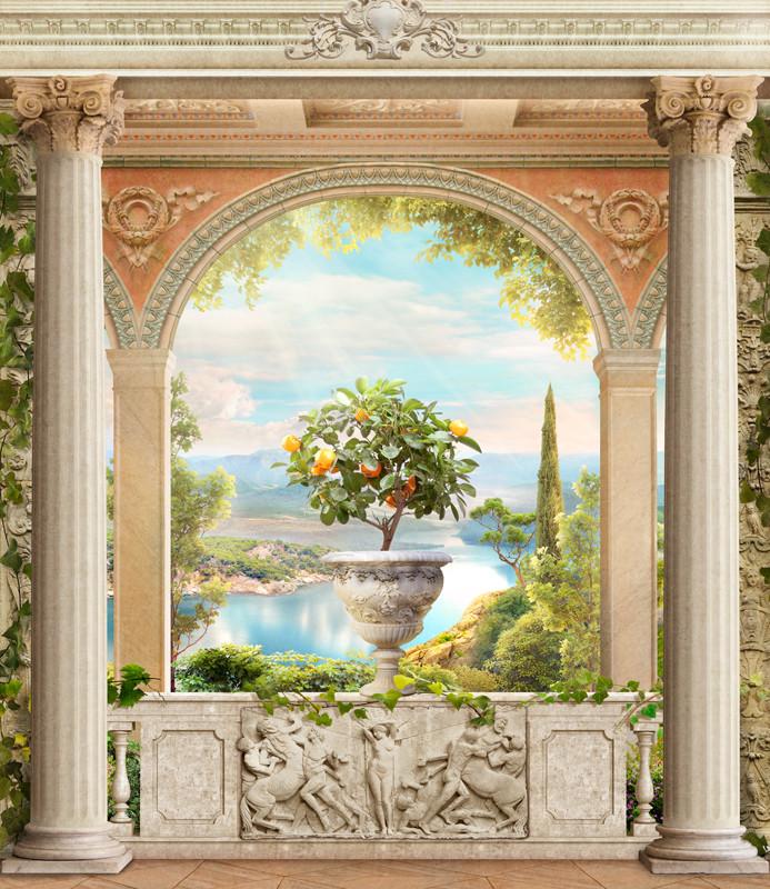 Фреска балкон с колоннами