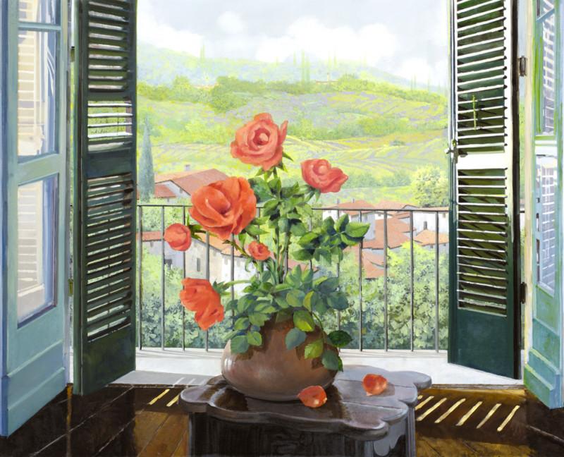 Фреска цветущая роза на окне