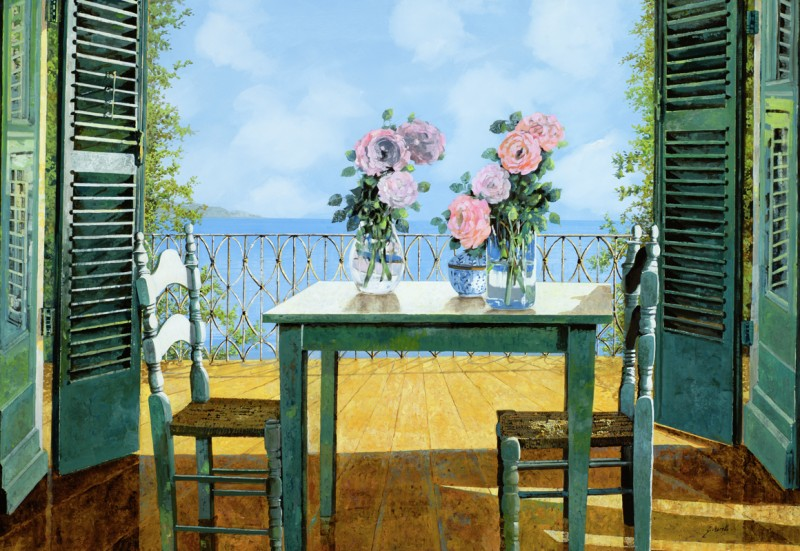 Фреска и фотообои ваза с цветами на столе