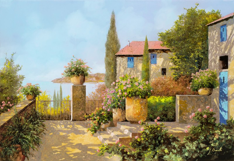 Фреска и фотообои домик на Кипре
