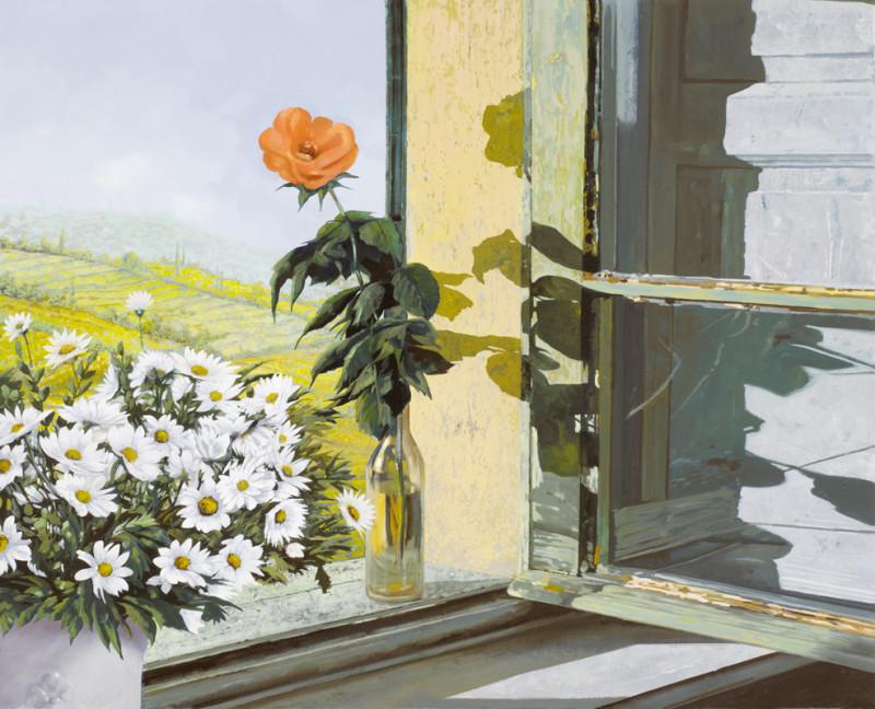 Фреска ромашка на окне