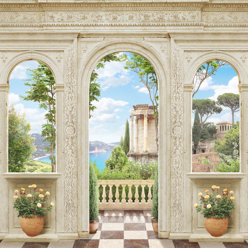 Фреска и фотообои греческий балкон
