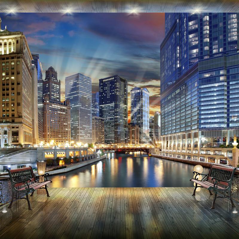Фреска и фотообои небоскребы ночью