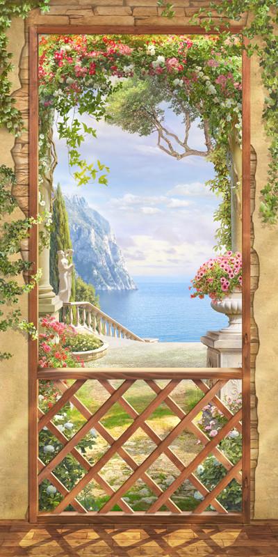 Фреска вид на море из арки