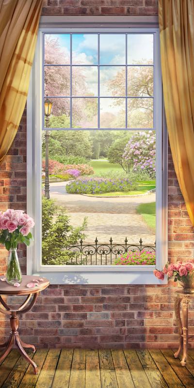 Фреска окно в цветущий сад
