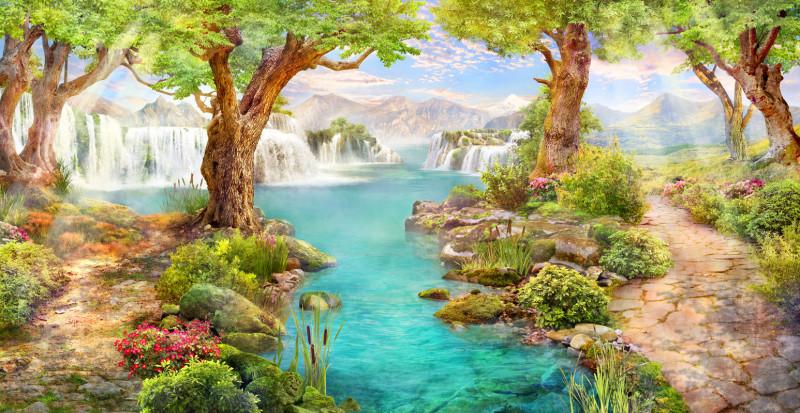 Водопады у горного озера
